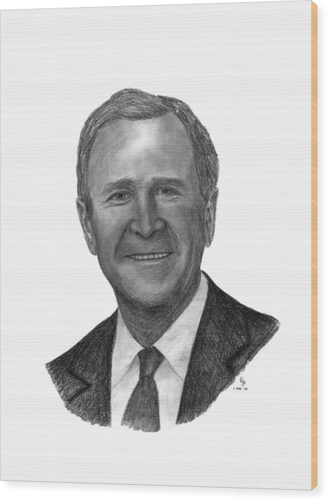 President Wood Print featuring the drawing President George W Bush by Charles Vogan