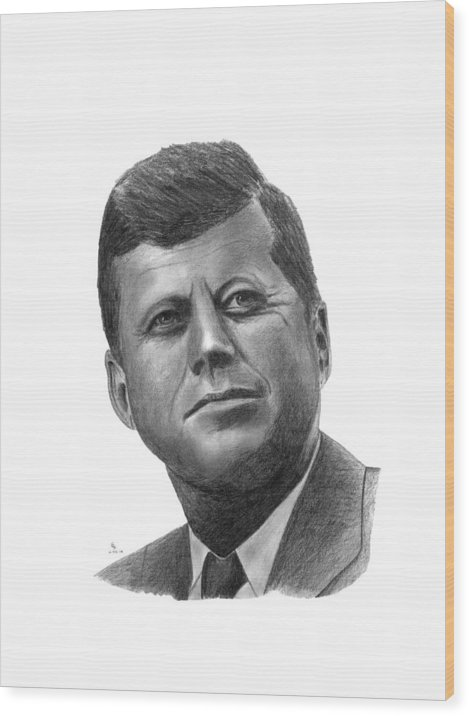 President Wood Print featuring the drawing President John Kennedy by Charles Vogan