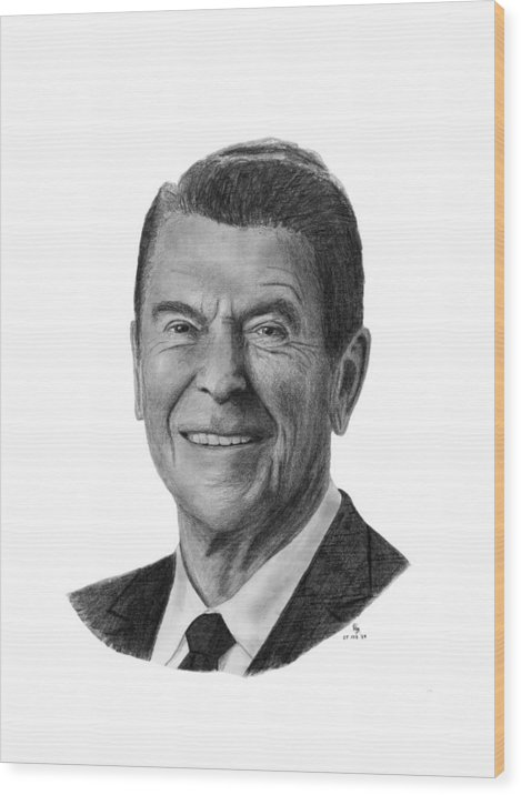 President Wood Print featuring the drawing President Ronald Reagan by Charles Vogan
