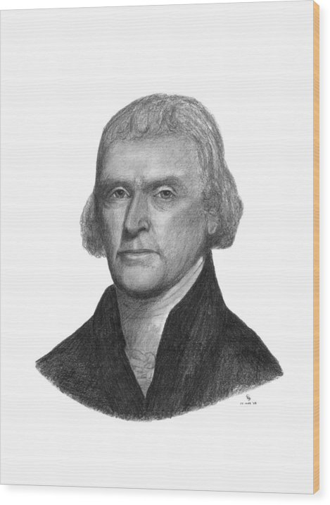 Jefferson Wood Print featuring the drawing President Thomas Jefferson by Charles Vogan