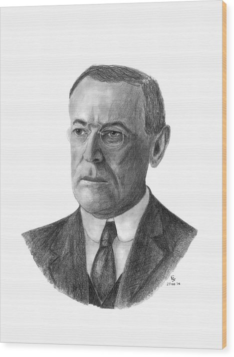 President Wood Print featuring the drawing President Woodrow Wilson by Charles Vogan