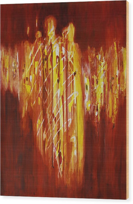 Abstract Wood Print featuring the painting Soul Train by Tara Moorman