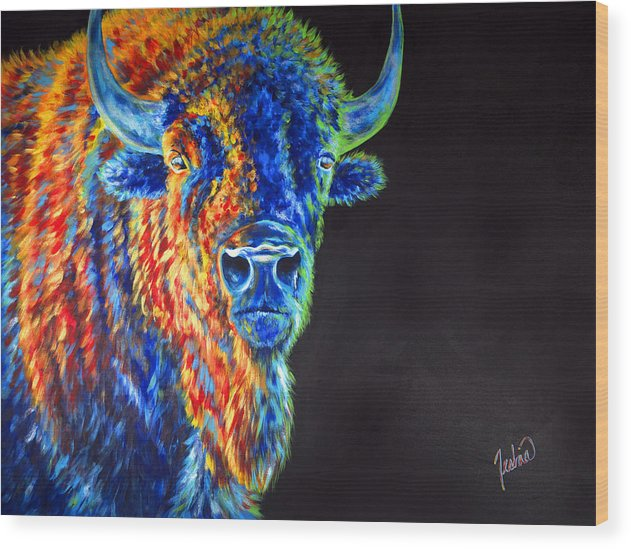 Buffalo Wood Print featuring the painting Daybreaker by Teshia Art