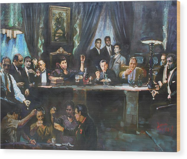 Gangsters Wood Print featuring the painting Fallen Last Supper Bad Guys by Ylli Haruni