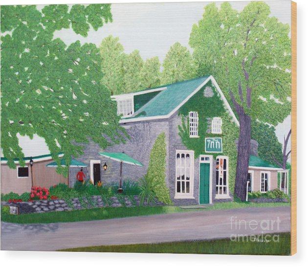Historic Wood Print featuring the painting Inn on Lake n the Mountain by Peggy Holcroft