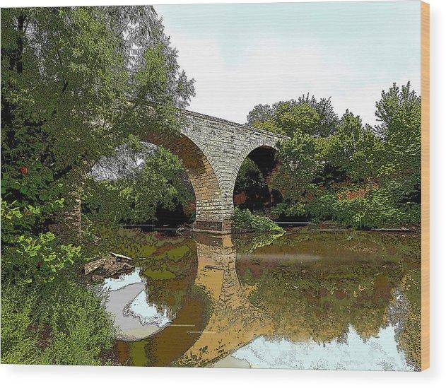 Bridge - Landscape - Realistic - Abandoned Wood Print featuring the photograph Old Stone Bridge by Brooke Lyman