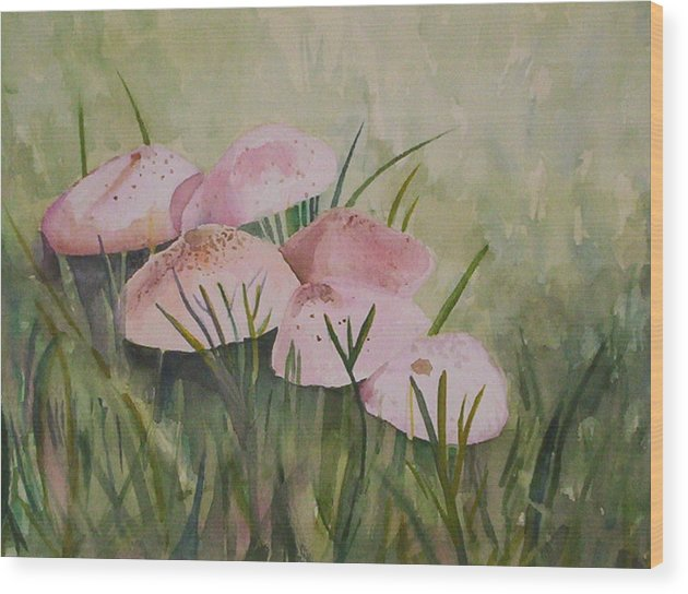 Landscape Wood Print featuring the painting Mushrooms by Suzanne Udell Levinger