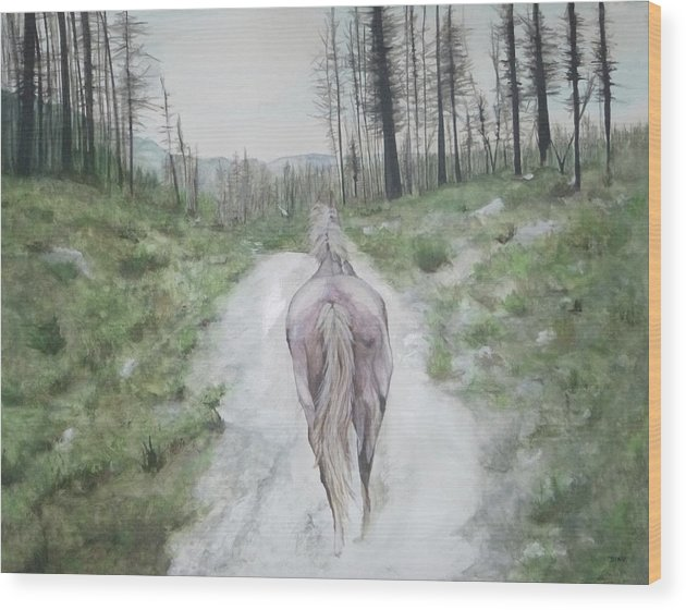 White Horse Wood Print featuring the painting Path To Your Dreams by Carrie Diaz