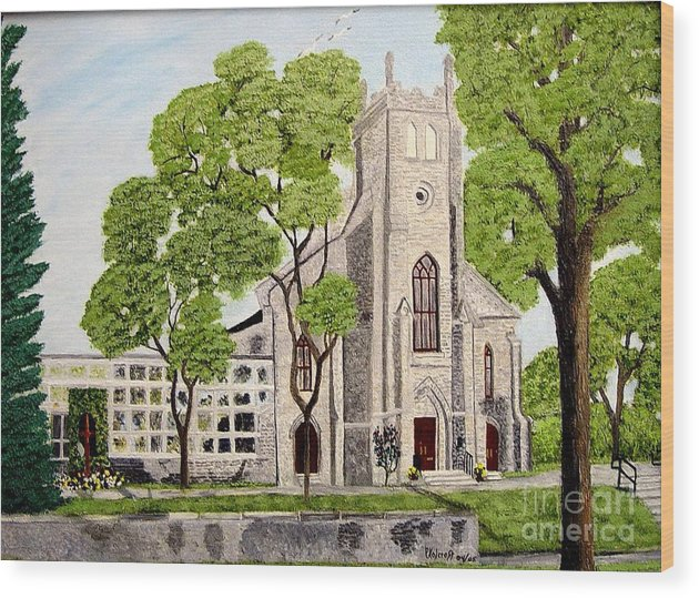 Historic Churches In Ontario Painting Wood Print featuring the painting St.Thomas Anglican Church Belleville Circa1821 by Peggy Holcroft