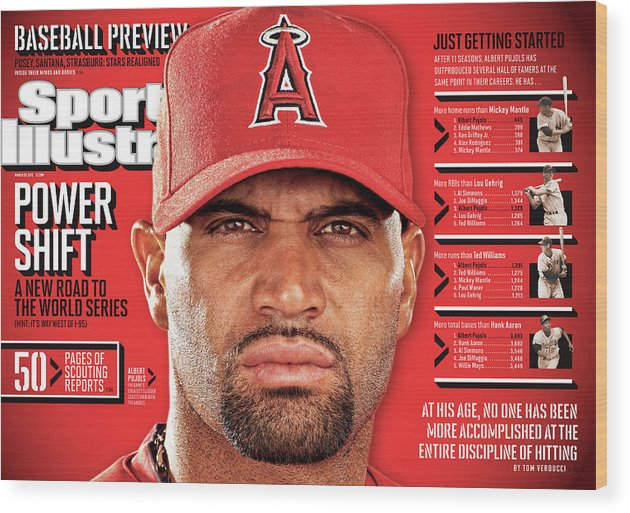 Magazine Cover Wood Print featuring the photograph Los Angeles Angels Of Anaheim Albert Pujols, 2012 Mlb Sports Illustrated Cover by Sports Illustrated