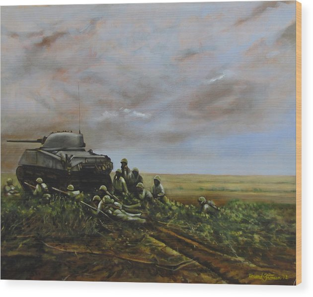 World War Two; Landscape; Soldiers; Military; Us Army; Combat; Infantry; Tank; Riflemen; War Wood Print featuring the painting Field Of Flowers by Howard Stroman