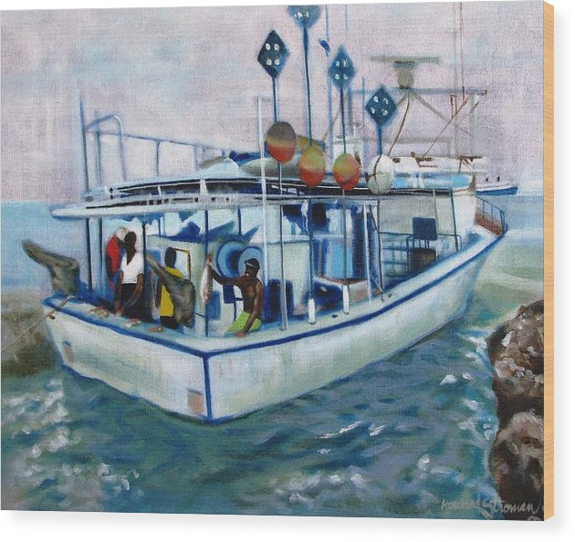 Fishing;boat;water;vacation;recreation;fishermen;aquatic;boat Painting;fishing Painting; Wood Print featuring the painting Fishermen by Howard Stroman