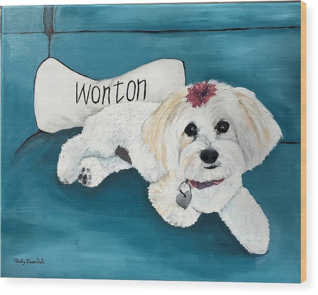 Maltese Wood Print featuring the painting Wonton by Judy Swerlick