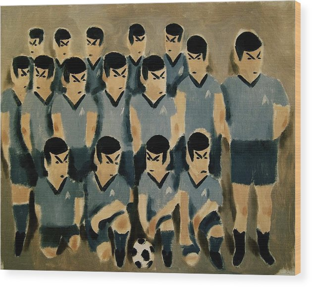 Spock Wood Print featuring the painting Spock Soccer Team Art Print by Tommervik