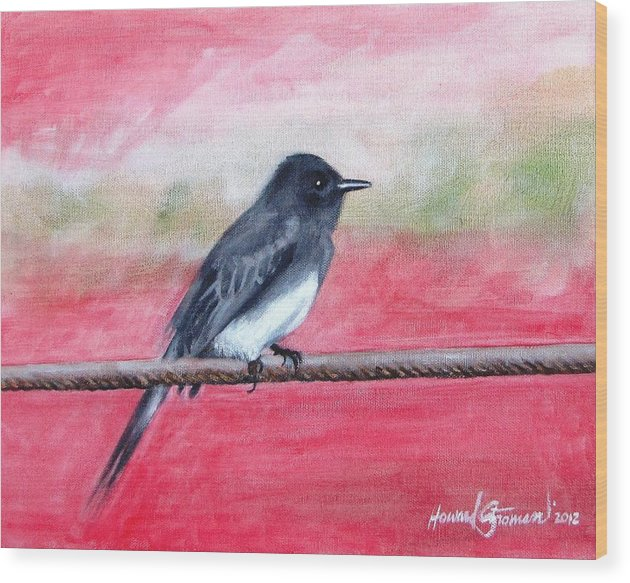 Wild Life Wood Print featuring the painting Black Bird by Howard Stroman