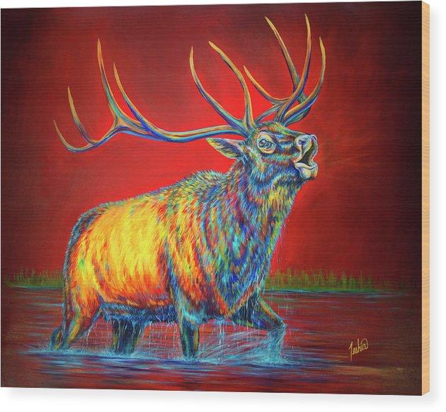 Elk Wood Print featuring the painting Crimson Cries by Teshia Art