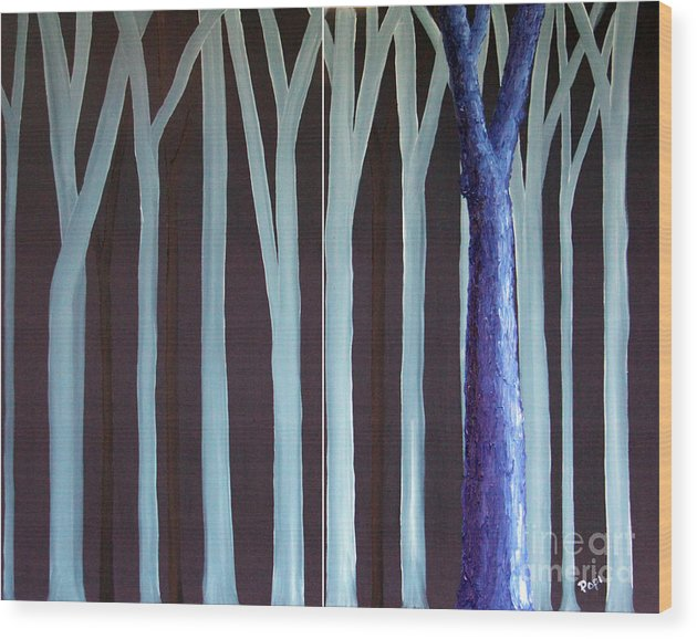 Abstract Wood Print featuring the painting Down Front by Paul Anderson
