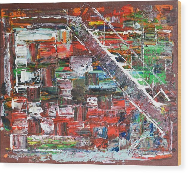 Abstract Art Wood Print featuring the painting Step Up by J R Seymour