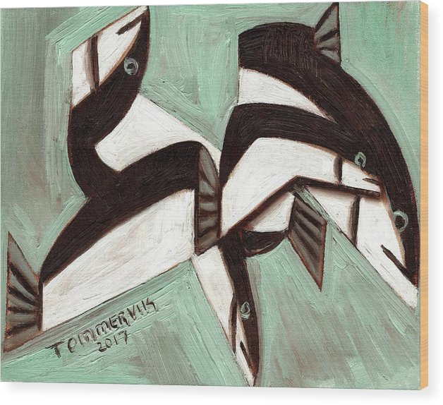 Fish Wood Print featuring the painting Tommervik Abstract Fish by Tommervik
