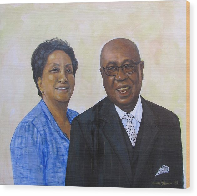Portrait Wood Print featuring the painting Pastor Donahue and Yvonne Green by Howard Stroman