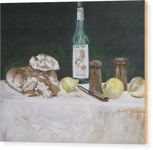 Stil Life;lemons;wine;bread;table Setting;salt;pepper;food Wood Print featuring the painting Bread and Wine by Howard Stroman