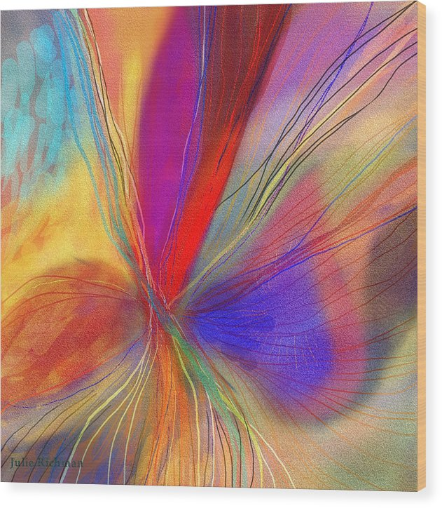 Abstract+art Wood Print featuring the drawing Meditate by Julie Richman