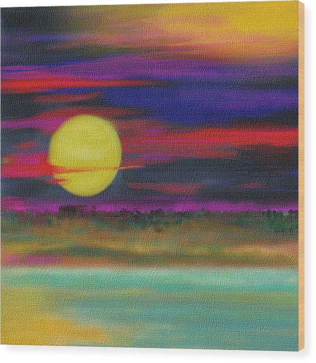 Landscape Wood Print featuring the drawing Purple Sunset by Julie Richman