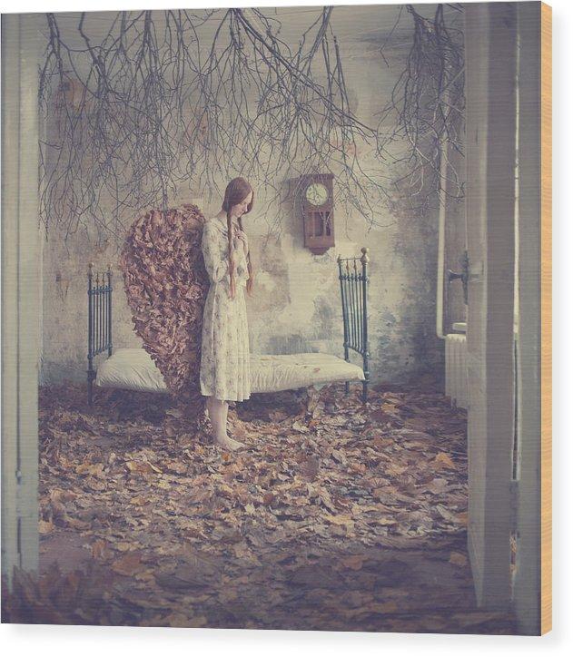 Wood Print featuring the photograph The Autumn Angel by Anka Zhuravleva