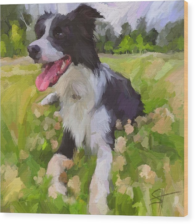 Border Collie Wood Print featuring the digital art Collie Flowers by Scott Waters