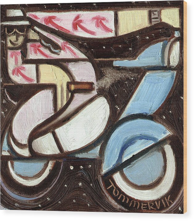 Miami Wood Print featuring the painting Miami Beach Man Riding A vespa in Outer Space Art Print by Tommervik