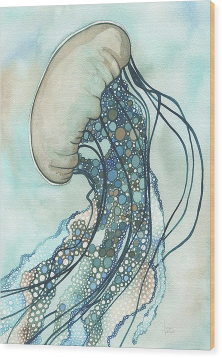 Marine Wood Print featuring the painting Jellyfish Two by Tamara Phillips