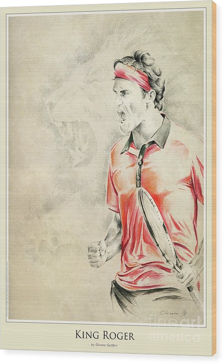 Golfer Wood Print featuring the painting King Roger - Poster by Olivera Cejovic