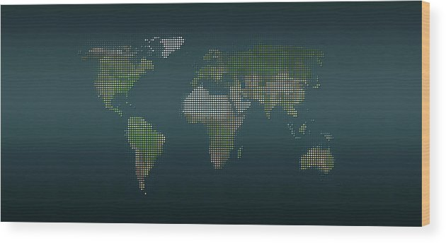 Panoramic Wood Print featuring the digital art World Map In Dots Against An Abstract by Ralf Hiemisch