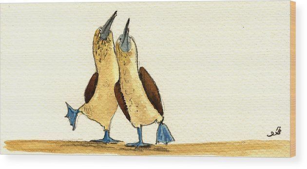 Blue Footed Booby Wood Print featuring the painting Blue footed boobies by Juan Bosco