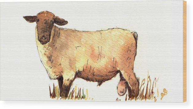 Male Wood Print featuring the painting Male sheep black by Juan Bosco
