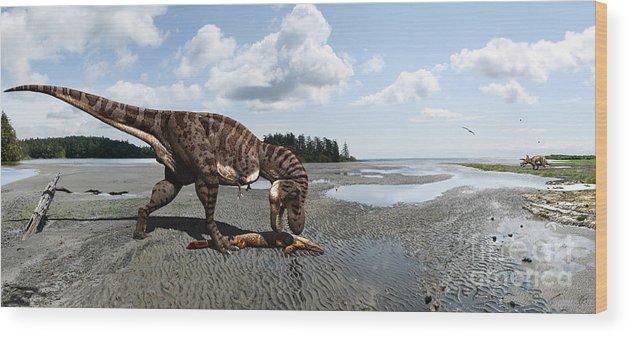 Dinosaur Wood Print featuring the digital art Tyrannosaurus enjoying seafood - wide format by Julius Csotonyi