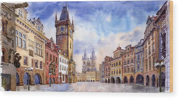 Watercolour Wood Print featuring the painting Prague Old Town Square by Yuriy Shevchuk