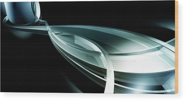 Horizontal Wood Print featuring the digital art Abstract Curved Lines, Leaf Shape by Ralf Hiemisch