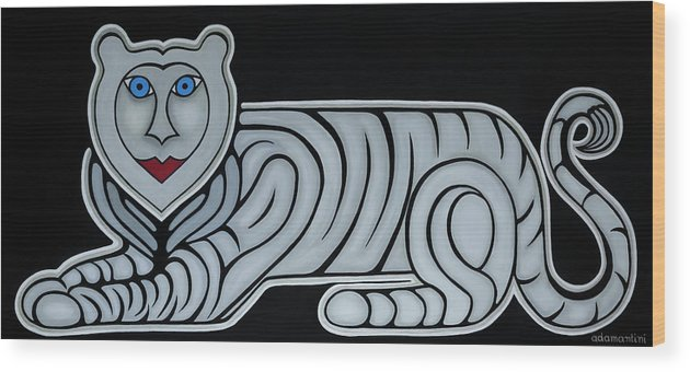 Celestial Wood Print featuring the painting Celestial big white tiger woman by Adamantini Feng shui