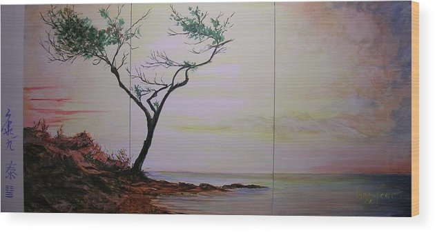 Sunrise Wood Print featuring the painting Health Wealth and Benevolence by Lizzy Forrester