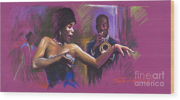 Jazz Wood Print featuring the painting Jazz Song.2. by Yuriy Shevchuk