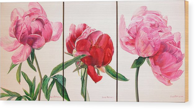Floral Painting Wood Print featuring the painting Pivoines by Muriel Dolemieux