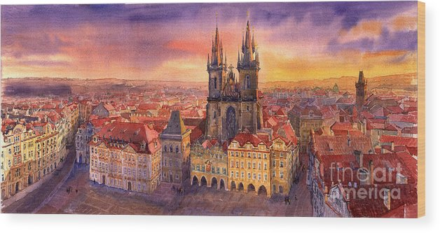 Watercolour Wood Print featuring the painting Prague Old Town Square 02 by Yuriy Shevchuk