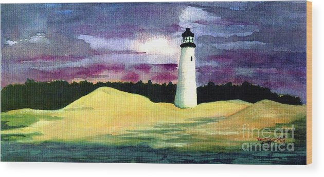 Fine Art Wood Print featuring the painting The Beacon by Patricia Griffin Brett