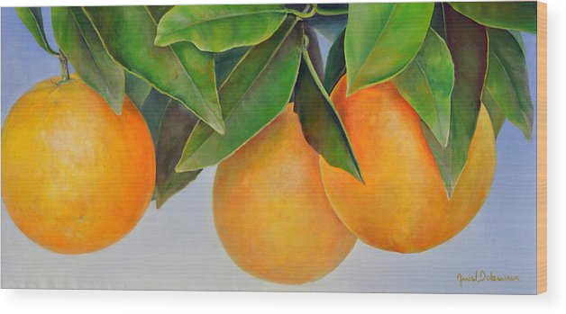 Floral Painting Wood Print featuring the painting Trois Oranges by Muriel Dolemieux