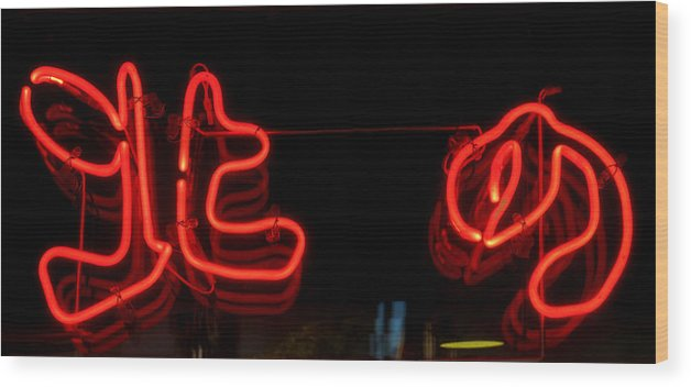 Red Neon Wood Print featuring the photograph Warm Neon by Baato