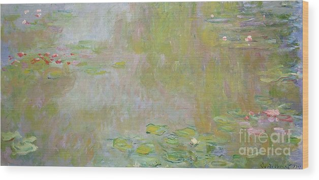 Waterlilies At Giverny Wood Print featuring the painting Waterlilies at Giverny by Claude Monet