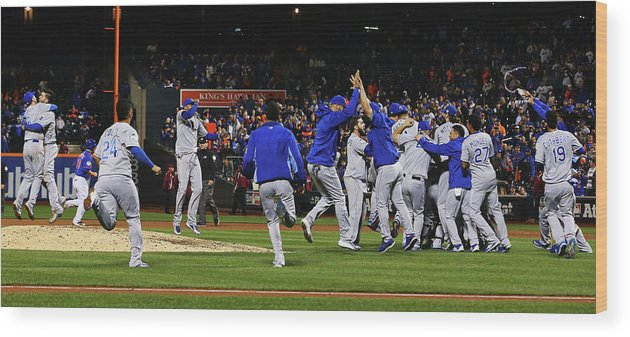 American League Baseball Wood Print featuring the photograph World Series - Kansas City Royals V New by Al Bello