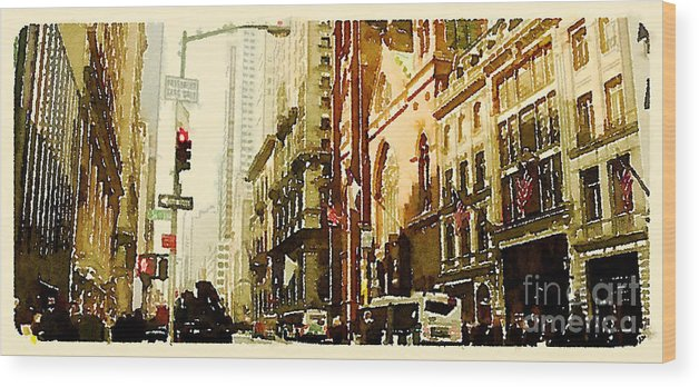 Usa Wood Print featuring the digital art Water Color New York City Scene by Trentemoller