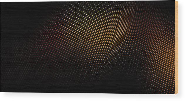 Shadow Wood Print featuring the digital art A Wave Pattern Of Dots Over Shadow by Ralf Hiemisch